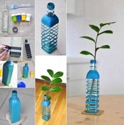废旧矿泉水瓶制成的花瓶图片
